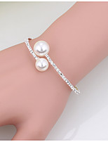 Women's Cuff Bracelet Tennis Bracelet Imitation Pearl Fashion Pearl Rhinestone Circle White Jewelry ForWedding Party Special Occasion