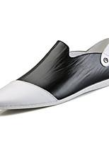 Белый Черный-Для мужчин-Повседневный-Кожа-На плоской подошве-Удобная обувь-Мокасины и Свитер