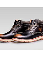 Men's Boots Fall Winter Comfort PU Casual Lace-up Brown Red
