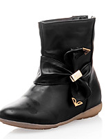 Women's Boots Winter Comfort Leatherette Dress Casual Low Heel Bowknot Zipper