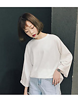 Women's Casual/Daily Simple T-shirt,Solid Round Neck ¾ Sleeve Others