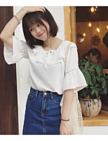 Women's Casual/Daily Simple Blouse,Solid Round Neck Short Sleeve Others