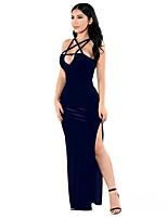 Moulante Robe Femme Soirée / Cocktail Soirée Grandes Tailles Sexy,Couleur Pleine A Bretelles Maxi Sans Manches Polyester Spandex Printemps