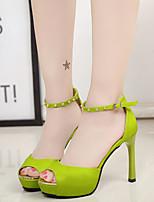 Feminino-Sandálias-Sapatos clube Conforto-Salto Agulha-Branco Preto Verde Rosa claro-Poliester-Festas & Noite Social