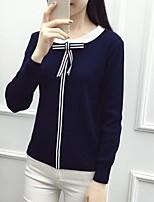 Women's Casual/Daily Regular Cardigan,Solid Round Neck Long Sleeve Cotton Spring Medium Inelastic