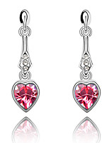 Earrings Set Crystal Love Heart Euramerican Chrome Jewelry For Wedding Party Birthday Gift 1 pair