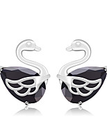 Fashion Stud Earrings Swan Earrings Champagne Pink Black Jewelry