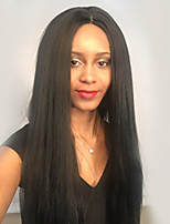 MAYSU  Black  Long Straight Hair Front Lace  Synthetic Wig Ethereal  26 Inch Woman Hair