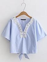 Feminino Camiseta Casual Para Noite Sensual Simples Moda de Rua Verão,Listrado Seda Algodão Decote V Meia Manga Média