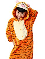 Kigurumi Pajamas Anime Leotard/Onesie Festival/Holiday Animal Sleepwear Halloween Animal Print Flannel For Unisex Female Male Kid