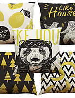 Set of 5 Black Pop Art Pattern  Linen Pillowcase Sofa Home Decor Cushion Cover (18*18inch)