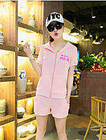 Women's Casual/Daily Simple Summer T-shirt Pant Suits,Solid Round Neck Short Sleeve Cotton Inelastic