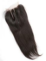 Бразильский шелк прямые отбеленные узлы человеческие волосы 130% плотность 4x4 inchlace закрытие