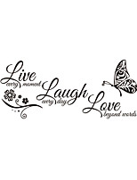 Wall Stickers Wall Decas Style Live Love Laugh English Words & Quotes PVC Wall Stickers