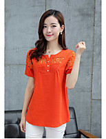 Women's Casual/Daily Vintage Shirt,Solid V Neck Short Sleeve Linen