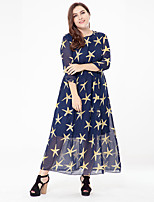 Women's Plus Size Beach Holiday Loose Swing Dress,Animal Print Round Neck Maxi ½ Length Sleeve Polyester Summer High Rise Micro-elastic
