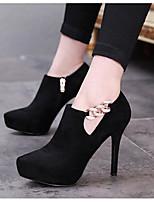 Mujer-Tacón Stiletto-Confort-Tacones-Informal-PU-Negro Morrón Oscuro