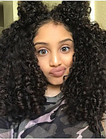Natural Black Curly Wig Human Virgin Hair Glueless Lace Front Wig with Baby Hair