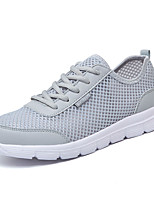 Women's Sneakers Spring Fall Comfort Tulle Outdoor Flat Heel Lace-up Blue Gray Black Walking