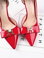 Frauen Fersen Sommer Club Schuhe Lackleder casual burgund weiß