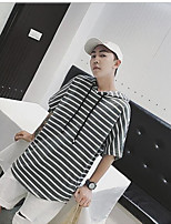 Men's Casual/Daily Hoodie Striped Hooded strenchy Cotton Short Pant Spring