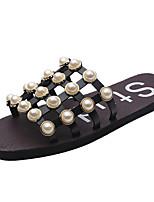 Women's Slippers & Flip-Flops Summer Comfort PU Outdoor Flat Heel Beige Black Walking