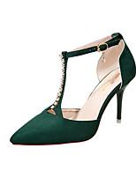 Women's Heels Summer Club Shoes Leatherette Party & Evening Dress Casual Stiletto Heel Rhinestone Buckle Black Red Beige Walking