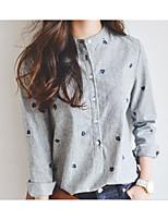 Women's Casual/Daily Simple Shirt,Striped Stand Long Sleeve Cotton
