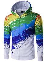 Men's Casual/Daily Hoodie Print V Neck Micro-elastic Cotton Long Sleeve