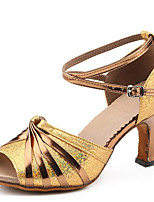 Non Customizable Women's Dance Shoes Sandals Latin Leatherette Stiletto Heel Indoor Gold