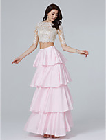 TS Couture Formal Evening Dress - Two Pieces A-line Bateau Floor-length Lace Taffeta with Appliques Sequins Tassel(s)
