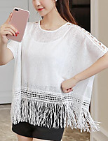 Women's Casual/Daily Simple Cute Spring Summer Blouse,Solid Round Neck Short Sleeve Polyester Medium