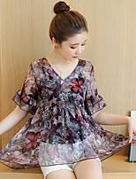 Для женщин На каждый день Весна Лето Блуза V-образный вырез,Уличный стиль Цветочный принт С принтом Рукав ½,Спандекс,Сетчатая