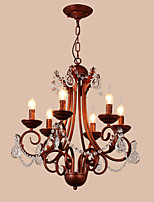 LightMyself 6 Lights Chandelier Modern/Contemporary Traditional/Lodge Vintage Retro Country Painting Feature for Crystal Metal Living Room