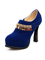 Women's Heels Spring Fall Formal Shoes Leatherette Outdoor Office & Career Party & Evening Casual Chunky Heel Zipper Blue Red Black