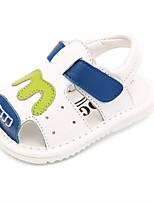 Sandály-Kůže-První botičky-Chlapecké-Bílá Modrá Růžová-Běžné-Plochá podrážka
