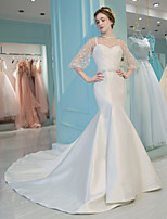 Trumpet / Mermaid Wedding Dress - Classic & Timeless Chic & Modern See-Through Beautiful Back Court Train High Neck Lace Satin Tulle with