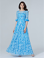 TS Couture Formal Evening Dress - Sparkle & Shine Sheath / Column Jewel Floor-length Sequined with Beading Flower(s) Sequins