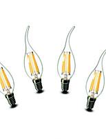 4.5W E14 Luzes de LED em Vela CA35 6 COB 500 lm Branco Quente Decorativa AC 220-240 V 4 pçs