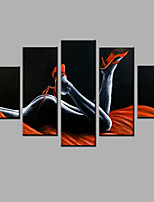 Hand-Painted Abstract Modern Five Panels Canvas Sexy Temptation Oil Painting  For Home Decoration