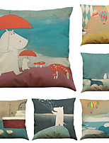 Set of 6 Cute Bear Pattern Linen Pillowcase Sofa Home Decor Cushion Cover  Throw Pillow Case (18*18inch)