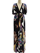 Damen Swing Kleid-Übergröße Boho Druck Tiefes V Maxi Kurzarm Elasthan Sommer Hohe Hüfthöhe Mikro-elastisch Mittel