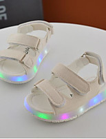 Girls' Baby Sandals Comfort PU Spring Fall Casual Comfort Flat Heel White Black Yellow 1in-1 3/4in
