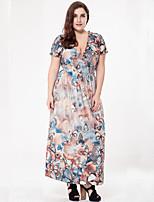 SWEET CURVE Women's Plus Size Boho Loose Dress,Print Deep V Maxi Short Sleeve Polyester Summer Fall High Rise Micro-elastic Medium