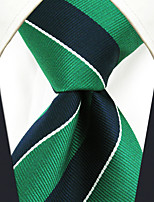 YXL27 Handmade Men's Neckties Green Blue Stripes 100% Silk Business New Casual Classic