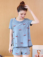 Women's Going out Casual/Daily Simple T-shirt,Print Round Neck Short Sleeve Cotton