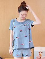 Feminino Camiseta Para Noite Casual SimplesEstampado Algodão Decote Redondo Manga Curta