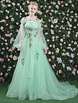 Formeller Abend Kleid - Sexy Elegant Transparent Zuschnüren A-Linie Schmuck Hof Schleppe Spitze Satin Tüll mitKristall Verzierung