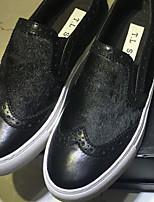 Women's Sneakers Spring Comfort PU Canvas Casual Burgundy Blue Black