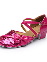 Customizable Women's Dance Shoes Leatherette Latin Flats Customized Heel Indoor Fuchsia